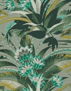 Groen behangpapier met bloemen
